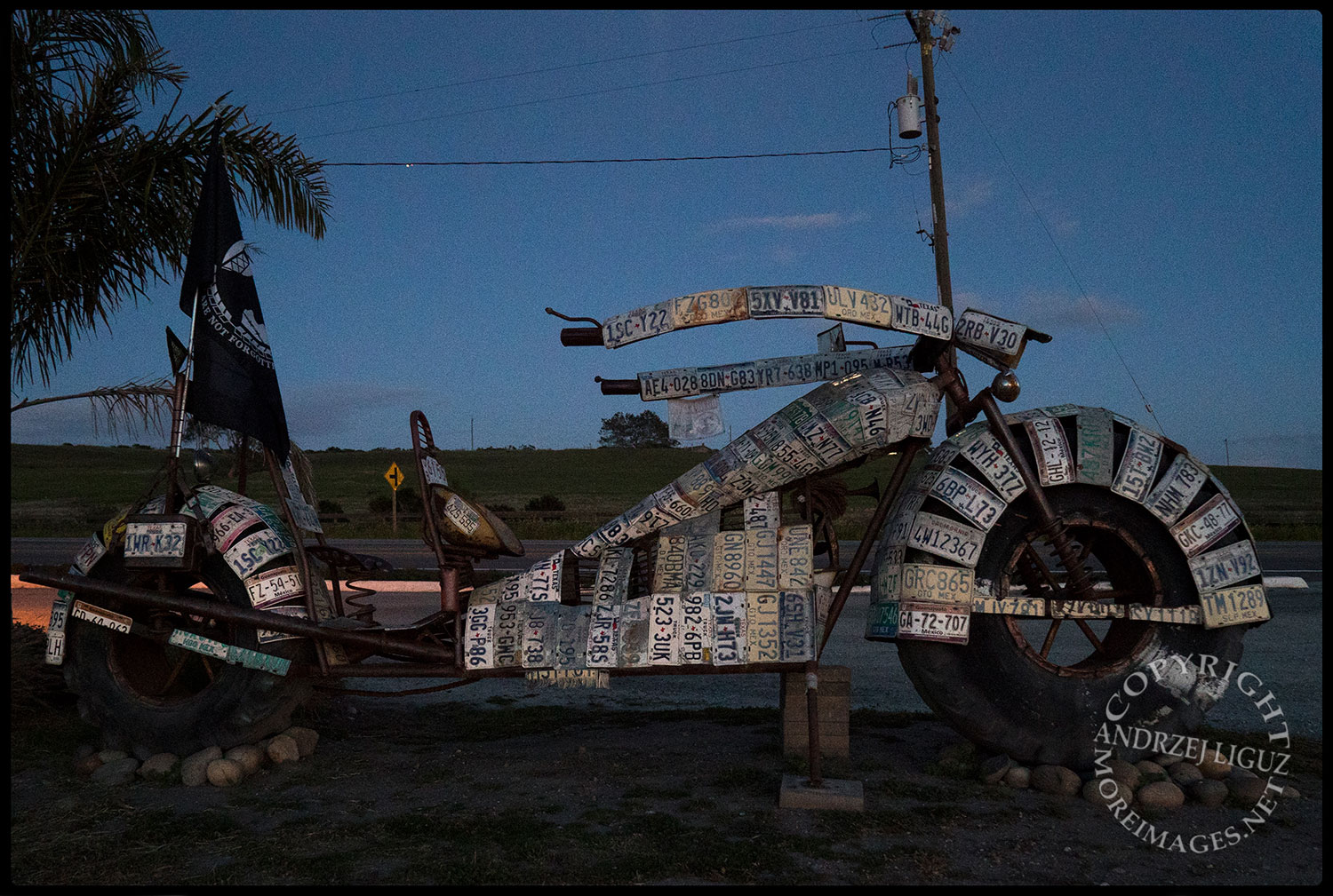 Mexican motorbike sculpture, Highway 1, north of Carmel, CA 2015-03-02