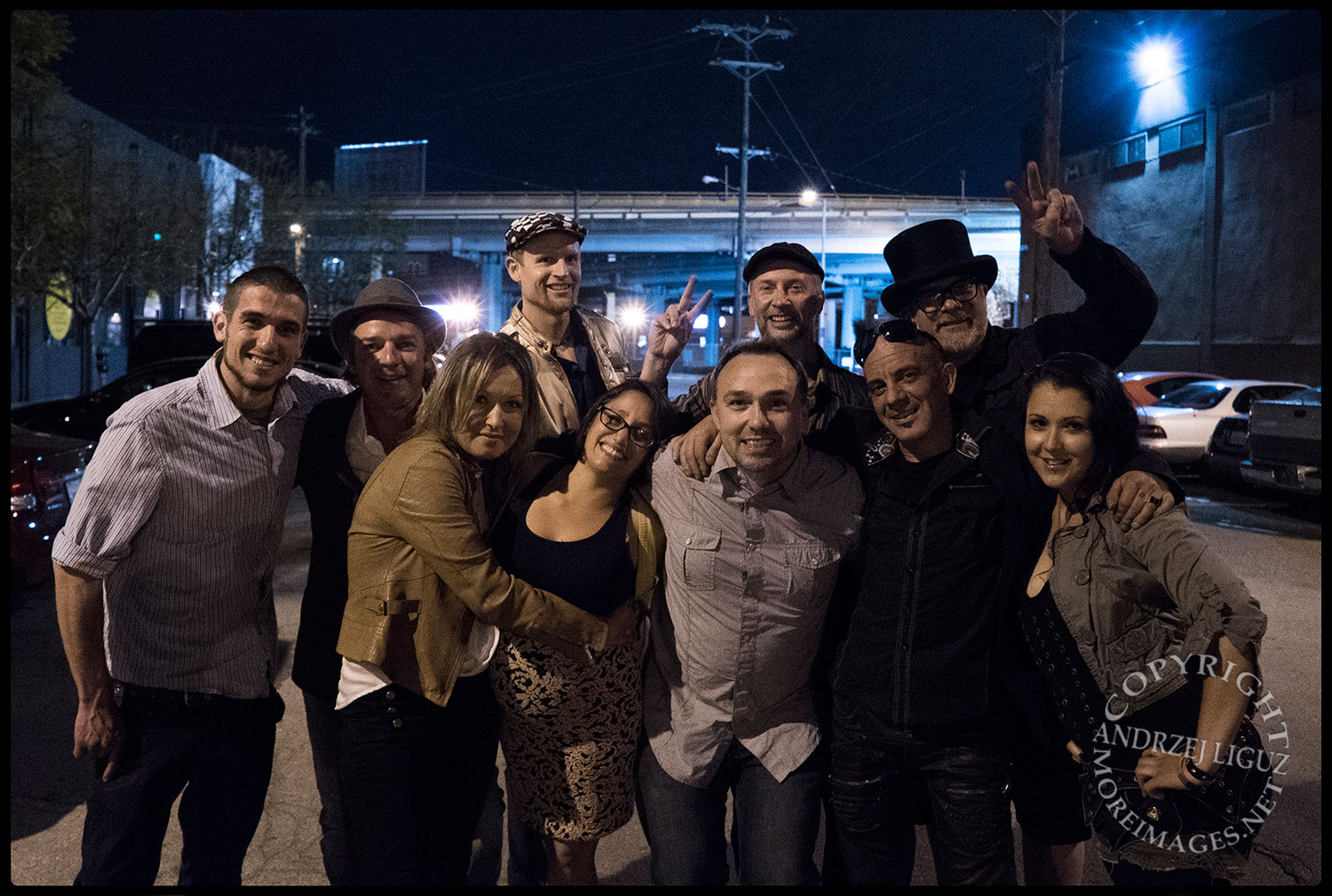 The crew with Curtis on his 40th birthday, Stanton Warriors gig, Mighty nightclub, San Francisco, CA 2015-03-13