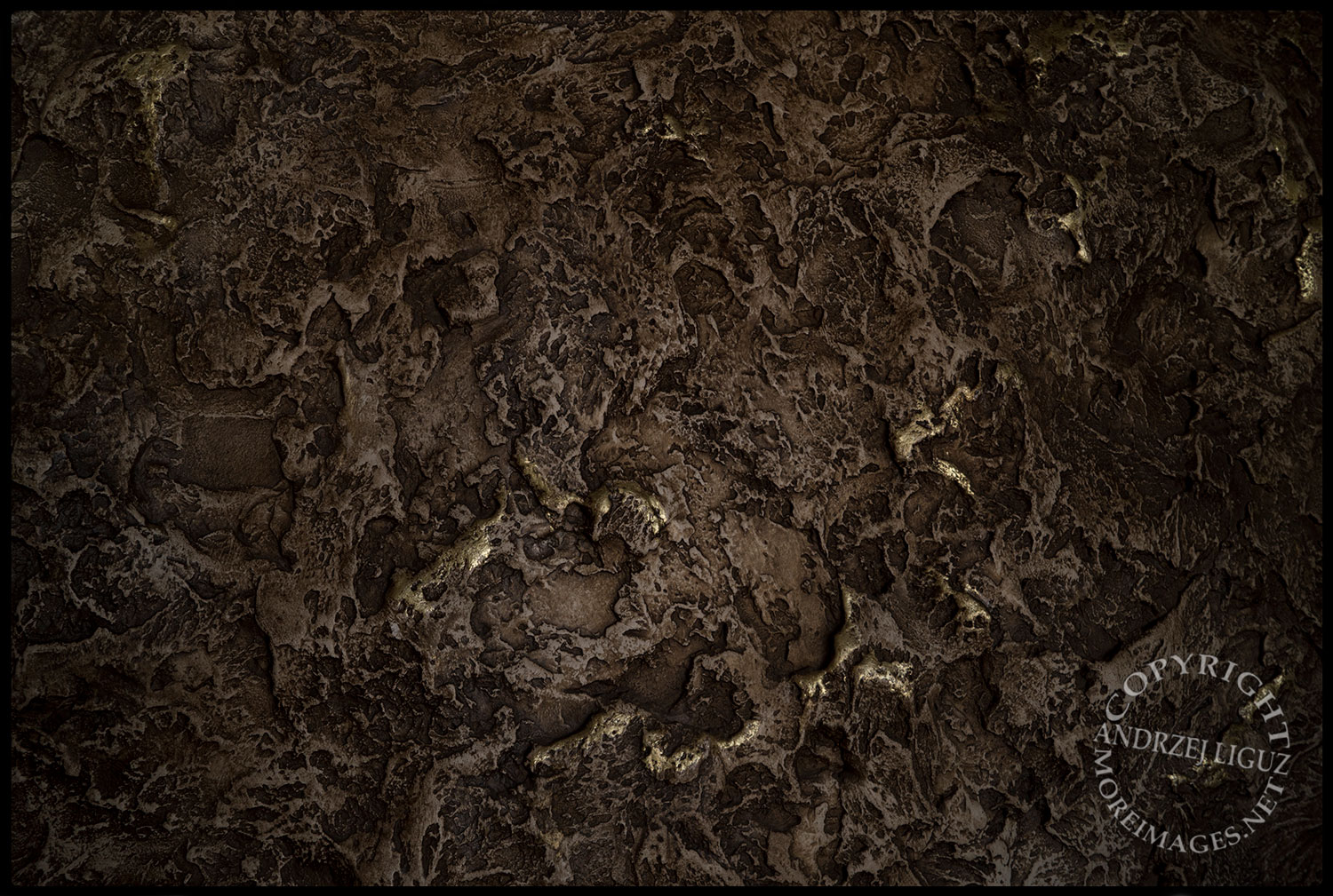 Wall detail (with gold leaf) of the plaster invented by Dickie, The House on the Hill, CA 2015-03-15