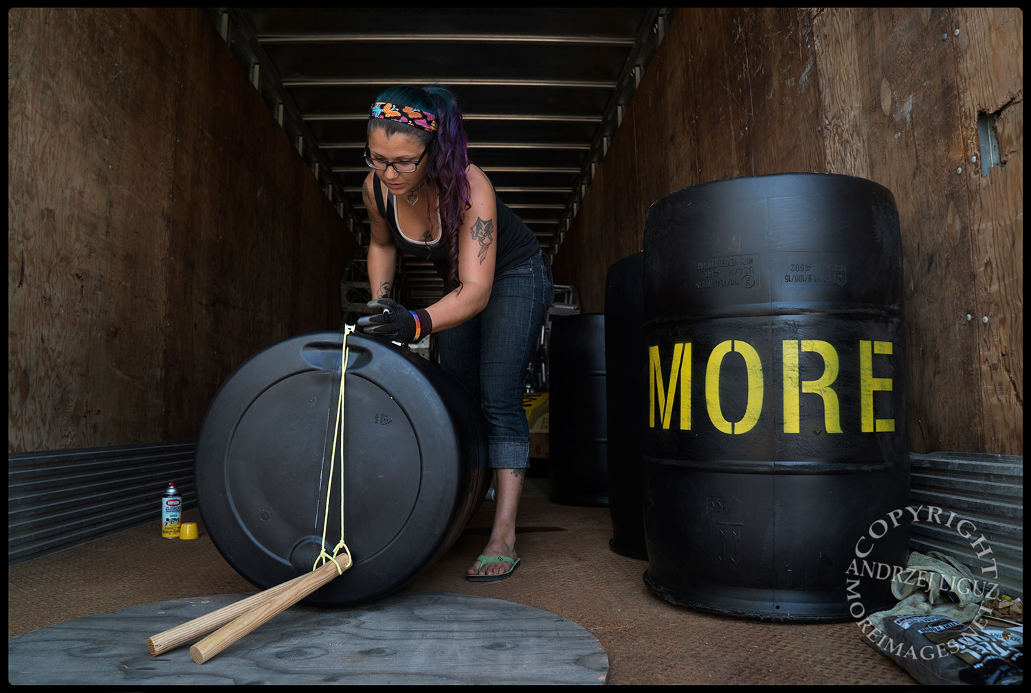 Blair stenciling the MORE (Ministry Of Random Events) Drums, Scotty's Warehouse, Petaluma, CA 2015-04-01